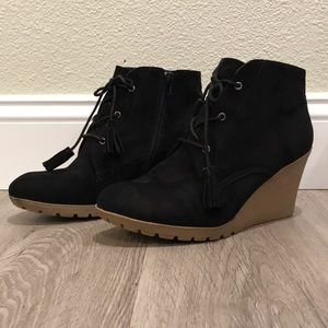 MIA Black Suede Wedge Ankle Bootie